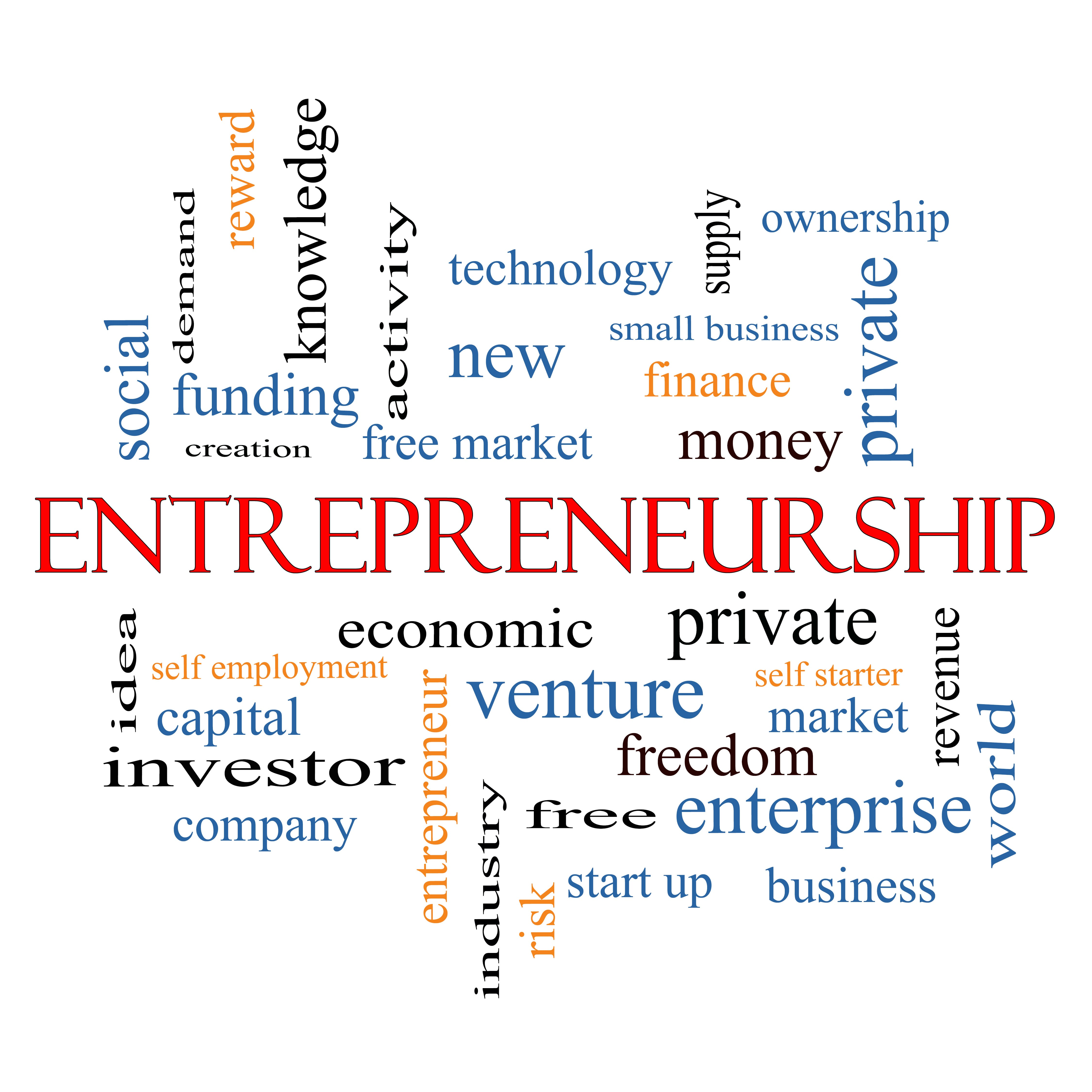 Entrepreneurship Word Cloud Concept - Gem Business Support